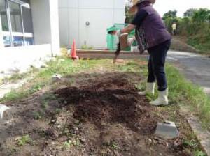 出来た腐葉土を畑へ